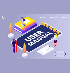user manual concept people with guide instruction vector image