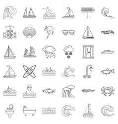 wave icons set outline style vector image