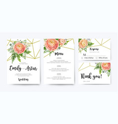 Wedding invitation rsvp floral card design set vector