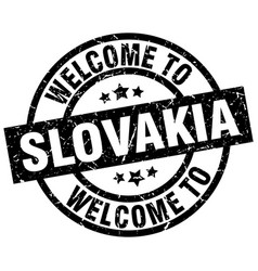 welcome to slovakia black stamp vector image