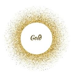 white circle frame on the gold glitter vector image