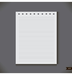 White notebook with lines vector image
