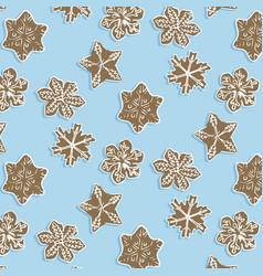winter snowflake cookie pattern cute brown vector image