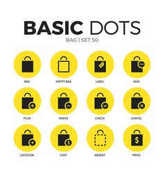 bag flat icons set vector image