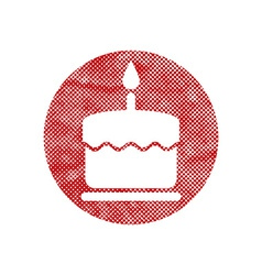 Cake icon with single candle with pixel print vector image vector image