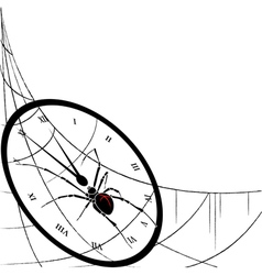 clock spiderweb and spider vector image