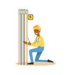 electrician engineer repairing electricity power vector image vector image