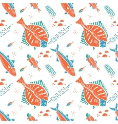 Flounder pattern in naive lino style vector image vector image
