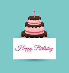 happy birthday cake card party event vector image