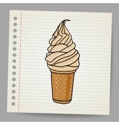 ice cream cone doodle vector image
