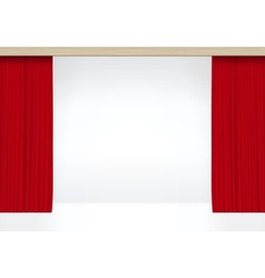 White scene with isolated red curtains vector