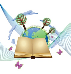 Book and planet vector image vector image