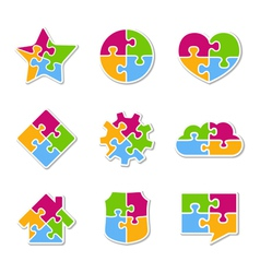 Puzzle Icons Collection vector image vector image