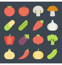 Set of flat design icons for fruits and vegetables vector image