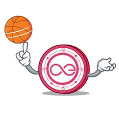 With basketball aeternity coin character cartoon vector