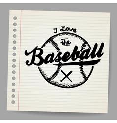 Doodle baseball design element vector image vector image