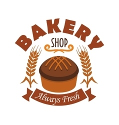 Fresh baked bread icon for bakery shop label vector image