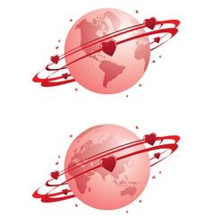 globe and hearts vector image