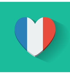 Heart-shaped icon with flag of France vector image vector image