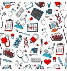 Medical items seamless pattern vector image vector image