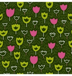 Seamless pattern with tulips and grass backdrop vector image vector image