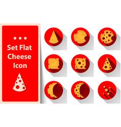 set yellow cheese icon vector image