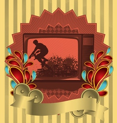 vintage background design with antique tv vector image vector image