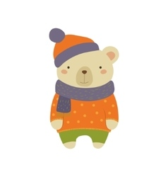 White Bear In Polka-dotted Sweater Childish vector image vector image
