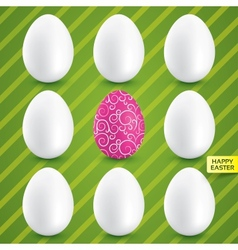 White eggs with pink egg in center collection vector image vector image