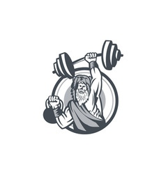 Berserker Lifting Barbell Kettlebell Circle Retro vector image vector image