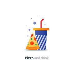High glass of drink with piece of pizza fast food vector