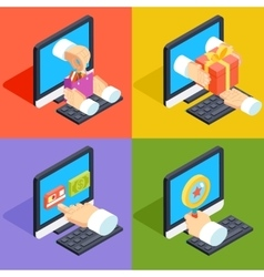 Online shopping and e-commerce concept isometric vector image