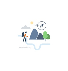 Outdoor sports activities backpacker icon vector image