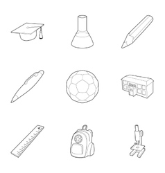 Schoolhouse icons set outline style vector