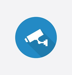 security camera Flat Blue Simple Icon with long vector image