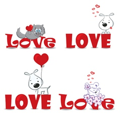 Set of animals Valentine day vector image vector image