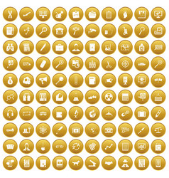 100 magnifier icons set gold vector