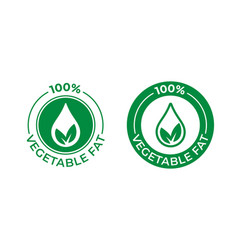 100 percent vegetable fat icon food package seal vector image