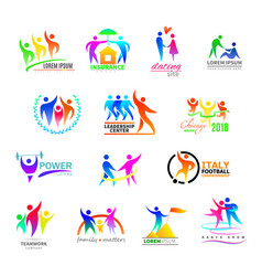 Abstract people icon person sign on logo of vector