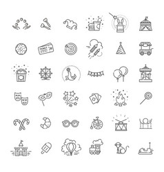 amusement park sings set thin line art icons vector image
