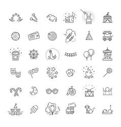 Amusement park sings set thin line art icons vector
