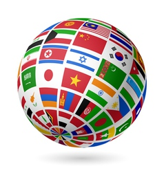 Asian flags globe vector image