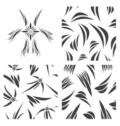 Assembly of patterns in flower style vector