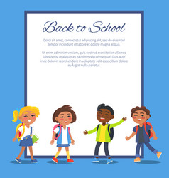 Back to school poster with children in clothes vector