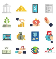 Banking system icons set vector image