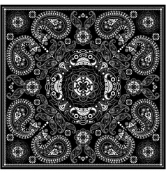 Black and white ornamental square with paisley vector