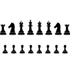 Black chess pieces full collection vector image