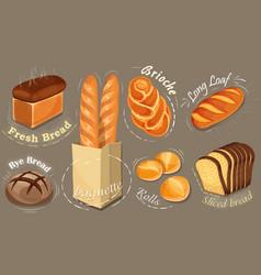 bread icons set long loaf rye bread bagu vector image