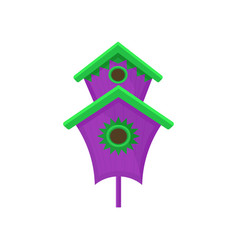 bright purple nesting box with green roof big vector image