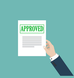 Business man hand holds approved paper document vector